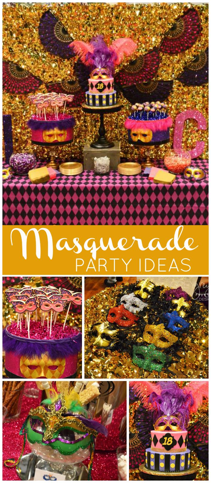 A sparkly purple and gold masquerade themed 18th birthday party for twin girls! See more party planning ideas at CatchMyParty.com!