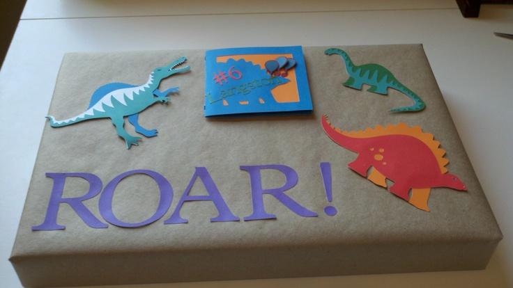 Cricut Dinosaur Tracks...birthday present with card attached.