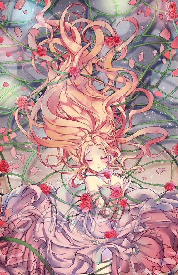 Sleeping Beauty Grimm Fairy Tale Large Print Etsy Anime Drawings Anime Anime Art Girl