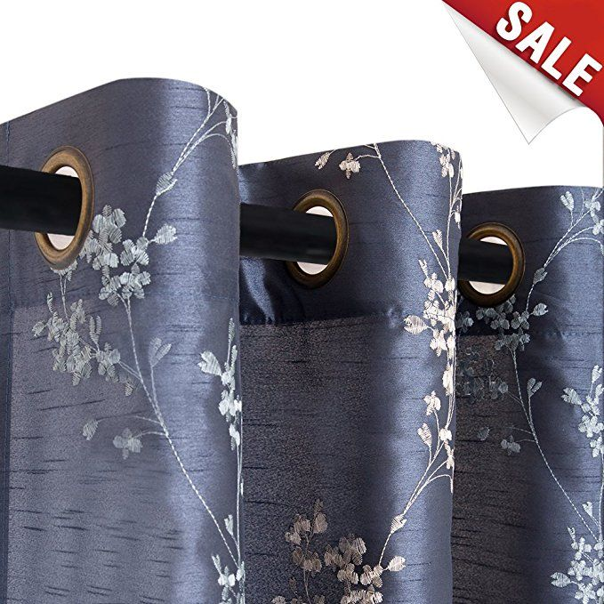 Floral Embroidered Curtains For Bedroom Drapes Semi Sheer Curtains