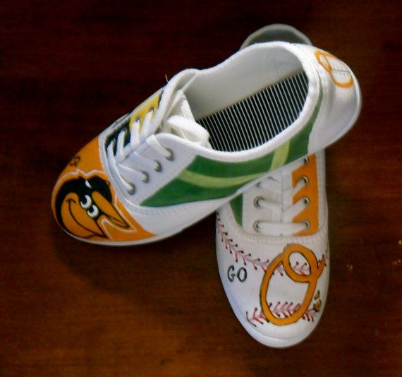 Women's Baseball Shoes Baltimore ORIOLES Shoes by StoneThicket, $60.00