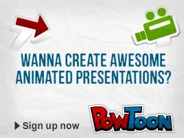 presentations are out - powtoon is in  PowToon is the brand new Do-It-Yourself animated presentation tool that supercharges your presentations and videos! Save massive amounts of time and money by creating Presentoons that bring the WOW!-factor to product demos, business presentations, social media clips, and much more.: Wow Factor