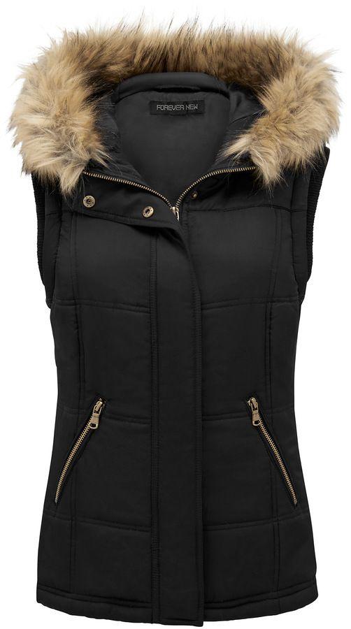 Forever New Bianca Waisted Fur Trim Gilet on shopstyle.com.au