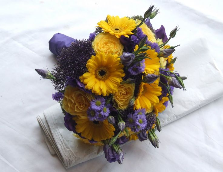 Yellow and Lavender Wedding | ... the brides bouquet to compliment their purple gowns and yellow shoes