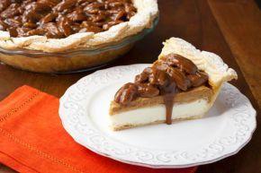 Pumpkin Cream Cheese Pie with Bourbon Pecan Caramel Sauce