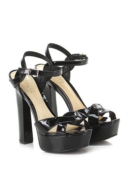 SCHUTZ - Sandalo alto - Donna - Sandalo alto in vernice con cinturino alla caviglia e suola in cuoio. Tacco 150, platform 35 con battuta 15. - BLACK - € 200.00