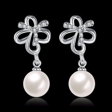 INALIS Pearl Pendent Butterfly Rhinestone Platinum Earrings at Banggood