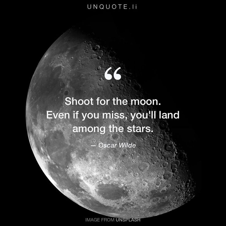 """Oscar Wilde """"Shoot for the moon. Even if you miss, you'll land among the stars."""""""