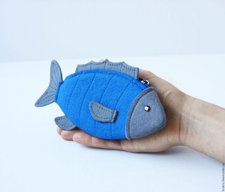 Felt wallet Fish | Купить Кошелек Рыбка - кошелек, из фетра, рыбка, ключница, для мелочи, небольшой подарок, маленькая сумочка