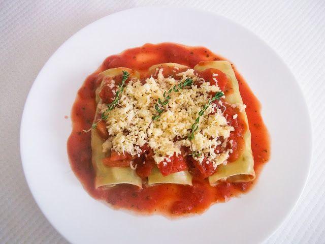 Cannelloni z pieczarkami na parze
