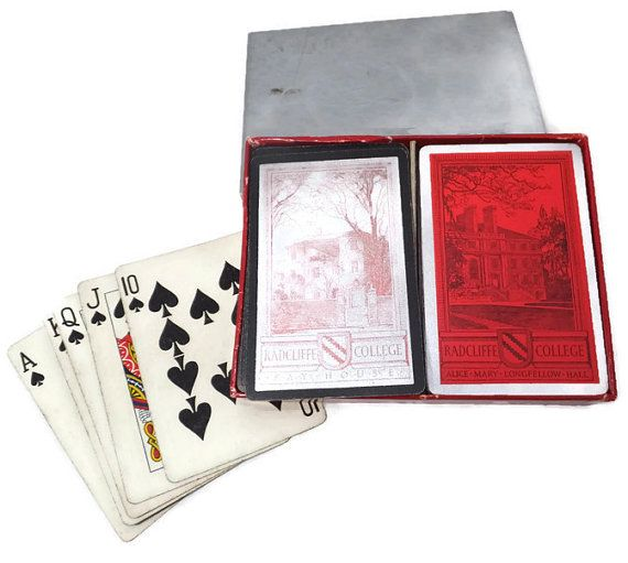 Vintage Radcliffe College Playing Cards - 2 decks, Fay House, Alice Mary Longfellow Hall, Harvard, Ivy League, Cambridge, Massachusetts
