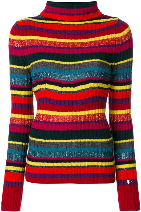 Twin-Set striped ribbed roll neck jumper
