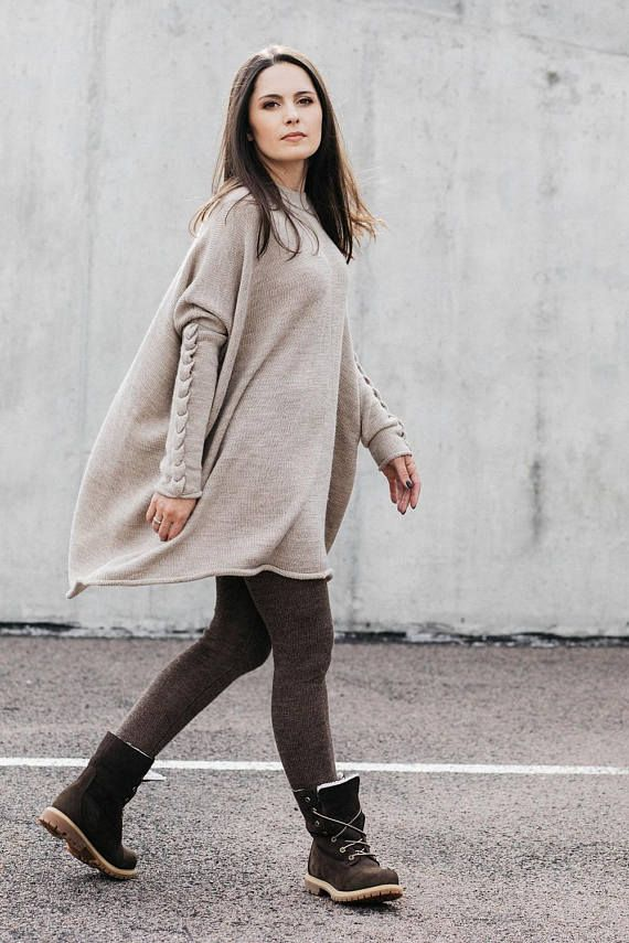 Alpaca oversize sweater for women, wool cable knit top, light beige, gray,  white, black tunic, knitted pullover, oversize dress, jumper   fall winter  ... 5b88026232bd