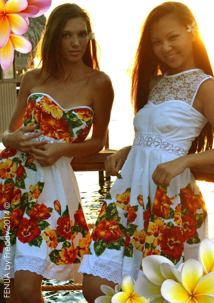 Bright and Beautiful hibiscus material that are beautifully designed differently, yet is another idea for bride's maids dresses.