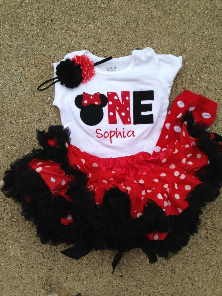 Red and black minnie mouse birthday outfit  1st by CEBowtique, $48.00