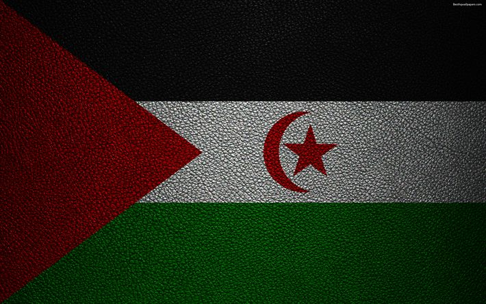 Download wallpapers Flag of Western Sahara, 4k, leather texture, Africa, flags of African countries, Western Sahara