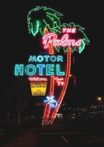 Neon lights  The Palms Motor Hotel http://spotpopfashion.com/6tle