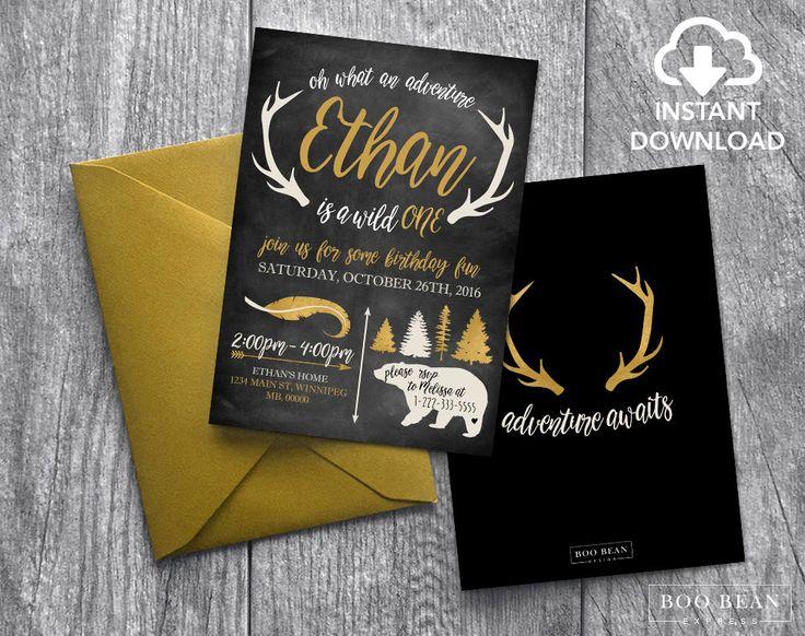 Gold Wild One First Birthday Invitation | Chalkboard Invitation | Antler invitation | Bear Invitation | Wild one Invitation by BooBeanExpress on Etsy