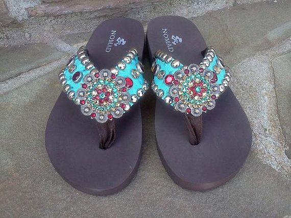 0c96c52247e The Cheyenne custom handmade western crystal cowgirl bling flip flops by  Rodeo Moon via Etsy