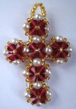 WHAT A PRETTY CROSS Crystal Cross at Sova-Enterprises.com Double layered. In red, gold and pearls it has a romantic jewel encrusted quality. Also looks good made with black crystals and black beads. The instructions are clear and easy to follow. It is also quite quick to whip up. Cheers Ruth Project Type: Bead Stitch: R.A.W. 2 needles Beads Used: 4mm bicone crystals, 4mm pearls or round beads, size 11 seed beads and 3mm round beads Approx Finished Size: 4.5 cm high, 3 cm wide Pages to Print…