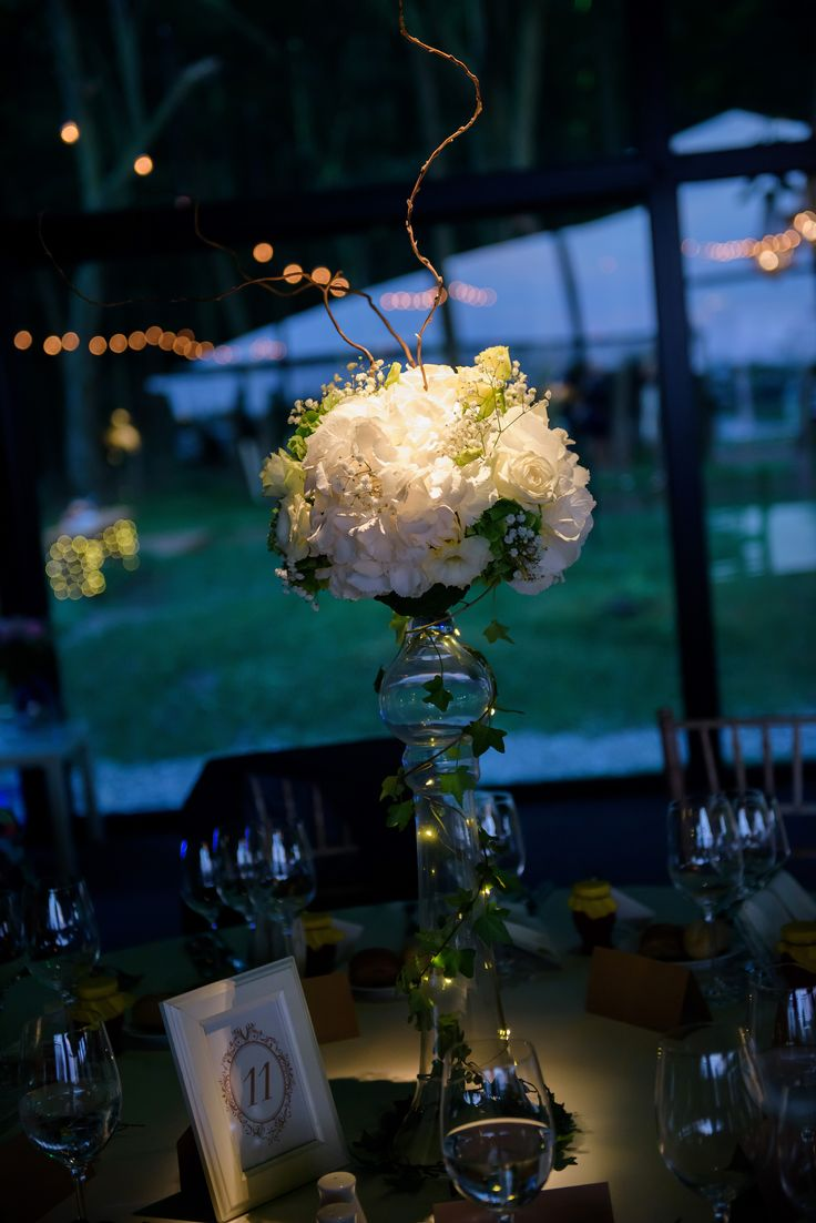 Tall centerpiece, forest white and yellow wedding theme