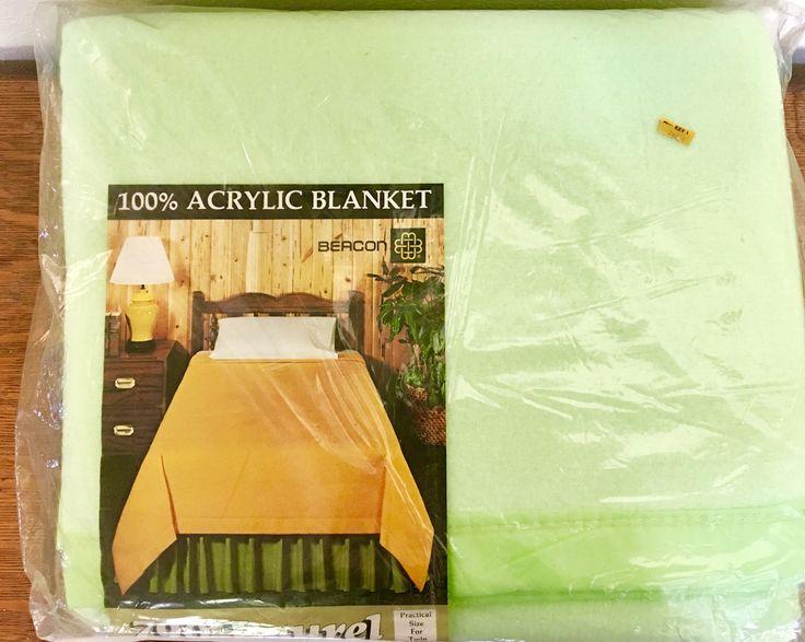 Vintage Acrylic Blanket - NOS - New Old Stock by JSMidCenturyFinds on Etsy https://www.etsy.com/listing/540029789/vintage-acrylic-blanket-nos-new-old