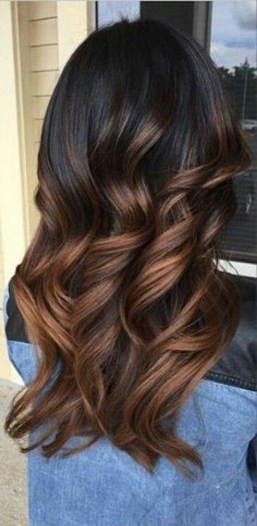 ombr hair du brun fonc au brun acajou - Coloration Brun Fonc