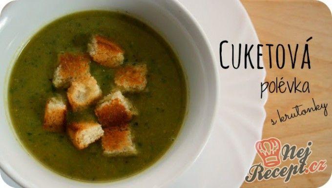 Cuketová polévka (z grilované cukety) s krutonky
