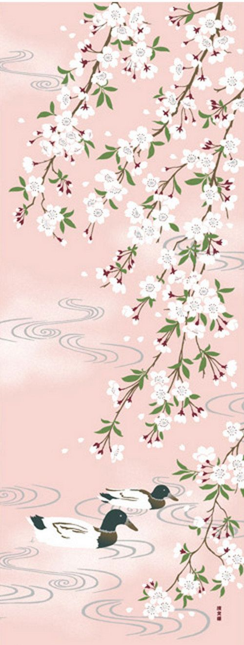 Japanese Tenugui Cotton Fabric, Cherry Blossom, Duck Bird, Sakura flower, Pink, Hand Dyed Fabric, Wall Decor, Home Decor, Scarf, Gift, h299