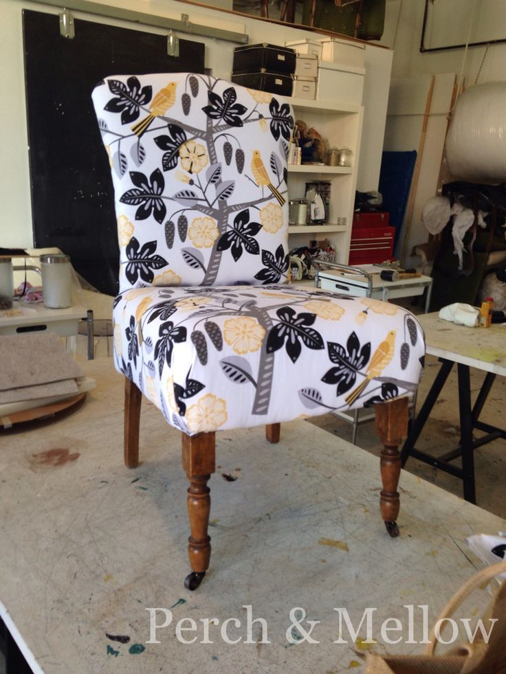 Antique ladies chair in Birdsong fabric from Tonic Living