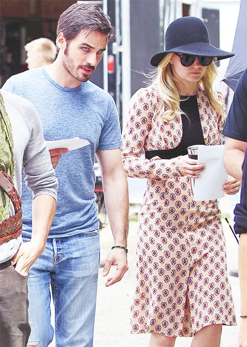 Colin O'Donoghue and Jennifer Morrison on the set of Once Upon A Time - July 18th, 2014