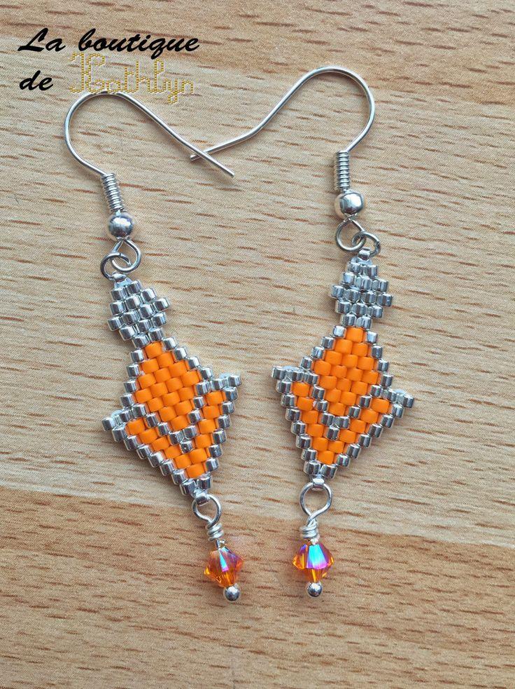 Boucles d'oreilles CHOTEE orange et argent, tissage main : Boucles d'oreille par la-boutique-de-kathlyn
