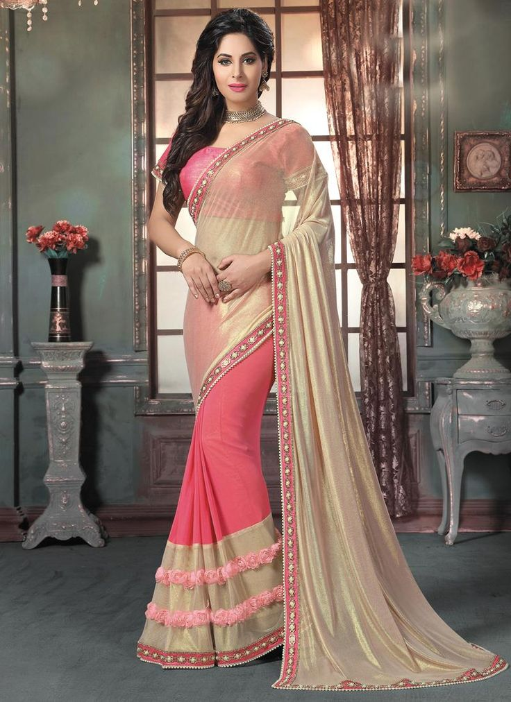 Buy saree online from among a variety of latest designer saree. Order this ravishing embroidered and patch border work georgette designer saree.
