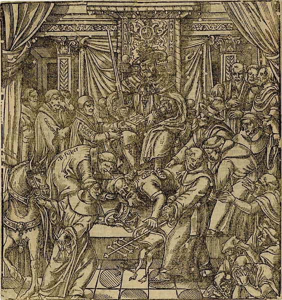 1570,Illustration,Foxe's Book of Martyrs,woodcut (verso letterpress),by John Foxe. Illustration shows King Henry VIII on his throne,with Thomas Cranmer to his left, presenting the King with a Bible,while Pope Clement VII is prostrated at his feet. Standing behind Cranmer is Thomas Cromwell.John Fisher supports the Pope's head;Cardinal Pole supports the Pope's back.Looking on in dismay at the scene are a group of monks.British Museum,London.