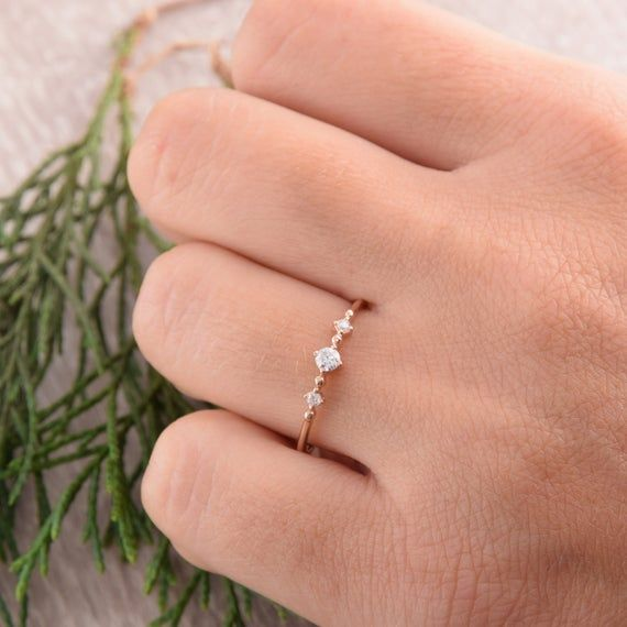 10k Solid Rose Gold Women Wedding Ring Engagement Band Simple Minimalist 2mm Thin Stackable Promise Ring for Her Anniversary Gift Ideas