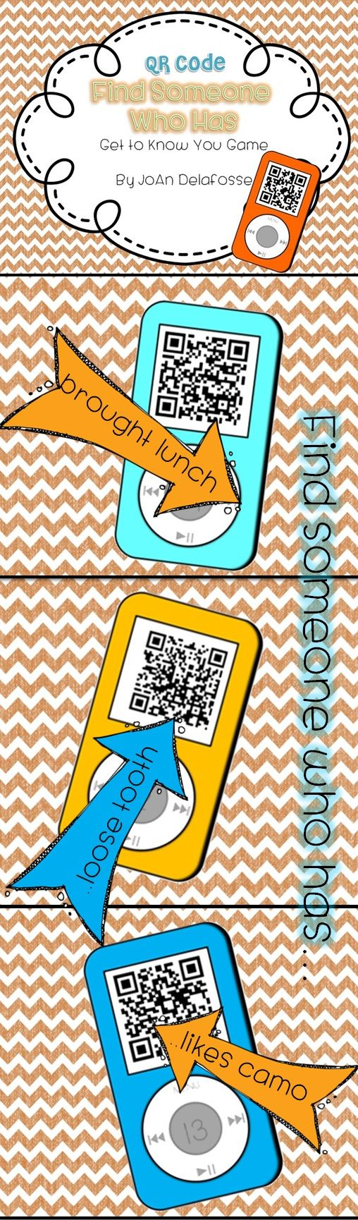 $$ Looking for a fun, engaging activity for back to school? Your students will be talking about this the rest of the year! This QR code game gets your students up, active, and building those lasting relationships on the very first day. Twenty-four cards are included, each with a get to know you question. $