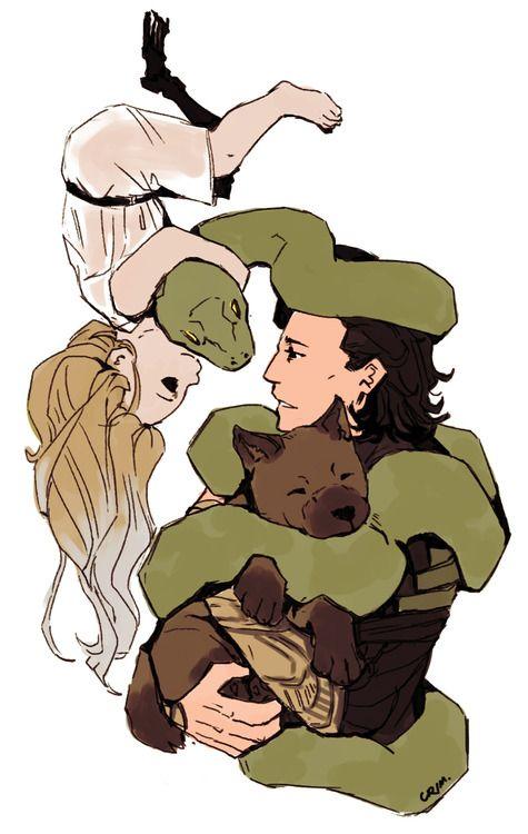 Loki cuddles his adorable babies. They're missing Sleipnir, Vali and Navri...