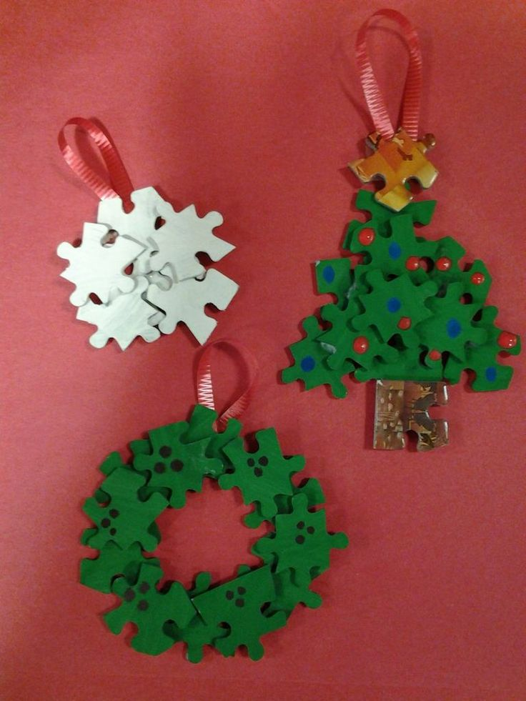 Puzzle piece ornaments christmas decorating crafts