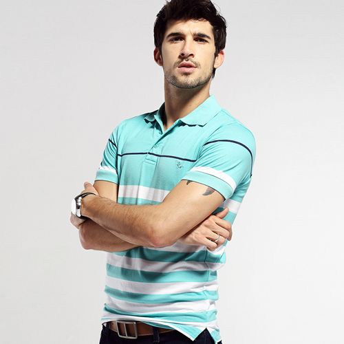 summer men's POLO shirt striped lapel short sleeved slim turn down collar casual breathable cotton