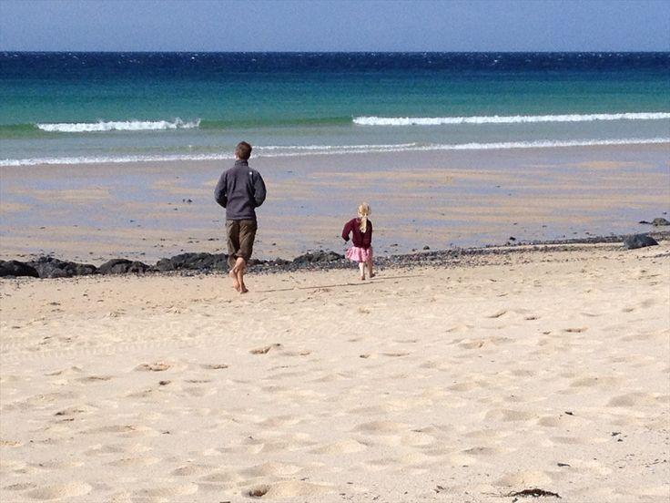 after school run on the beach porthmeor st ives cornwall