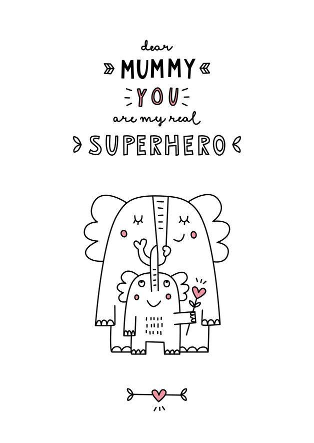 Printable: Illustration für Mama, Familie Download / cute family printable, elephant, love made by finelittlepaper via DaWanda.com