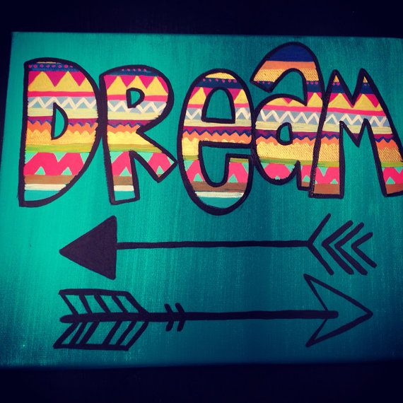 DREAM canvas art- love.this! I want an arrow tattoo and my word used to be dream.