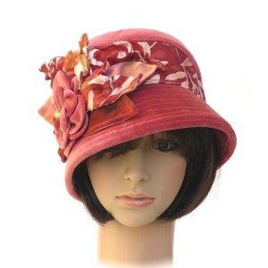 GATSBY - soft coral vintage cotton velvet; hand-dyed silk trims - Rosehip Hat Studio