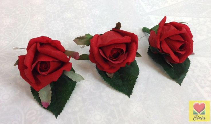 3 x Latex Red Rose Buttonholes Wedding Bouquet Silk Artificial Groom Flowers