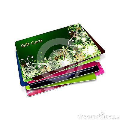 Christmas gift cards  over white background