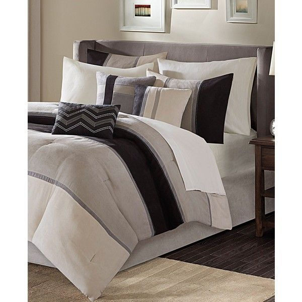 madison park palisades 7pc california king comforter set 320 liked on polyvore featuring home bed u0026 bath bedding comforters black california