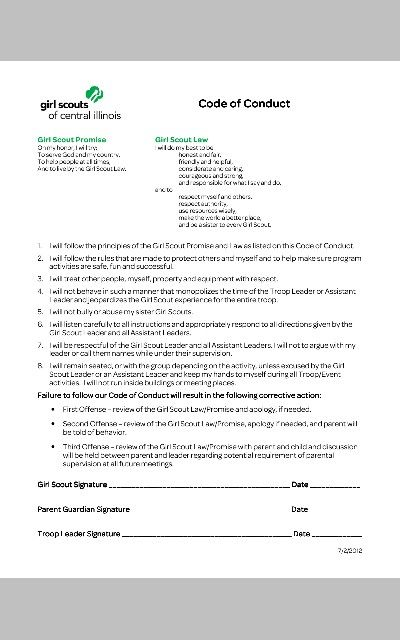 Girl Scouts Code of Conduct Contract - signed each year. Could also be incorporated into bridging from Daisy to Brownie as they will have learned about GS Promise & GS Law.