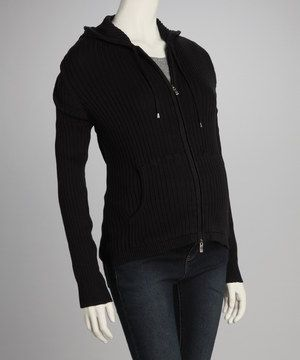 Loving this Black Ribbed Maternity Zip-Up Hoodie on #zulily! #zulilyfinds