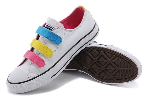 White Converse Chuck Taylor 3 Straps Pink Yellow Blue Preschool All Star  Velcro Sneakers #converse #shoes | chunktaylor | Pinterest | White converse,  ...