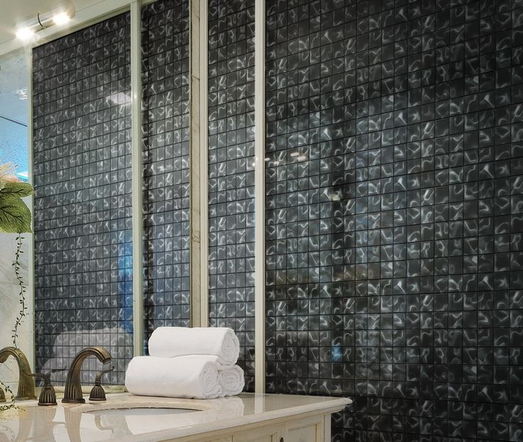Illusion Glass Mosaic Anthracite - Comes in Mosaic at 48x48x8mm, or Sheets of 298x298mm